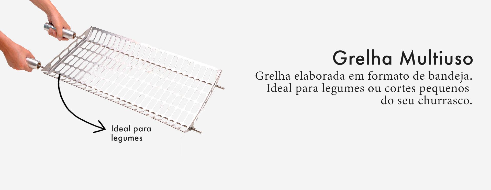 Grelha Gourmet Multi Uso Ideal Para Legumes em Inox Escovado Corte a Laser com Cabo de Alumínio