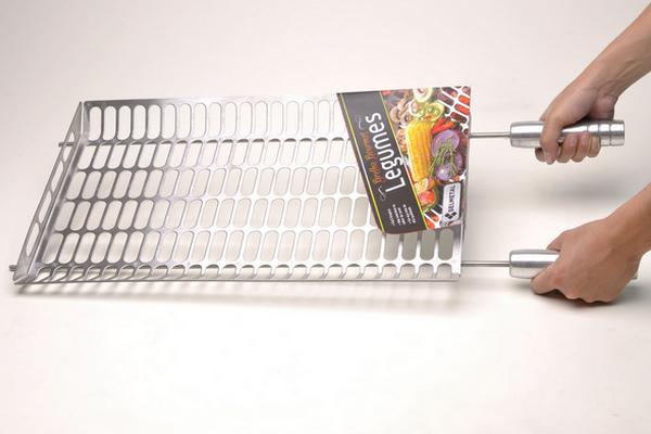 Grelha Gourmet Multi Uso Ideal Para Legumes em Inox Escovado Corte a Laser com Cabo de Alumínio  - DOTEC SHOP