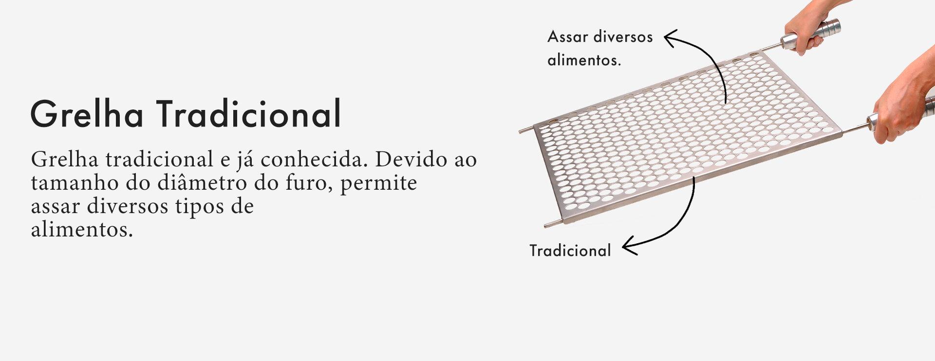 Grelha Gourmet Tradicional Moeda em Inox Escovado Corte a Laser com Cabo de Alumínio  - DOTEC SHOP