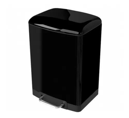 Lixeira Slim com Pedal Preta 12 litros  - DOTEC SHOP