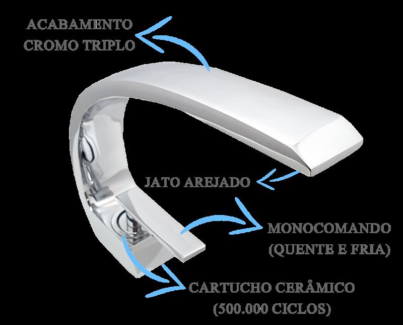 Misturador Bica Baixa Curve  - DOTEC SHOP
