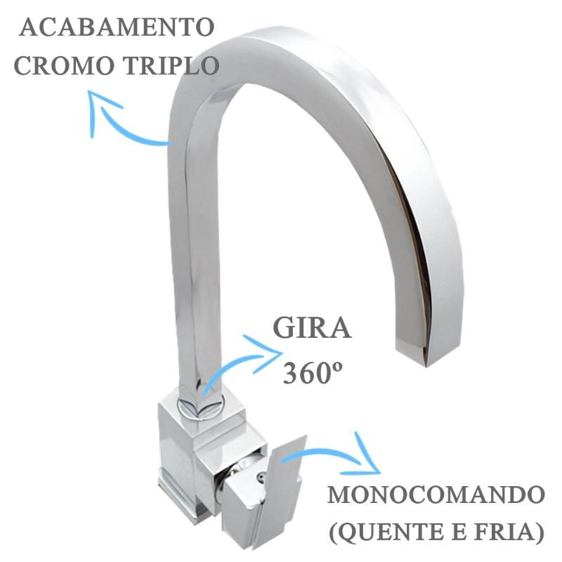 Misturador Monocomando Cromado  - DOTEC SHOP