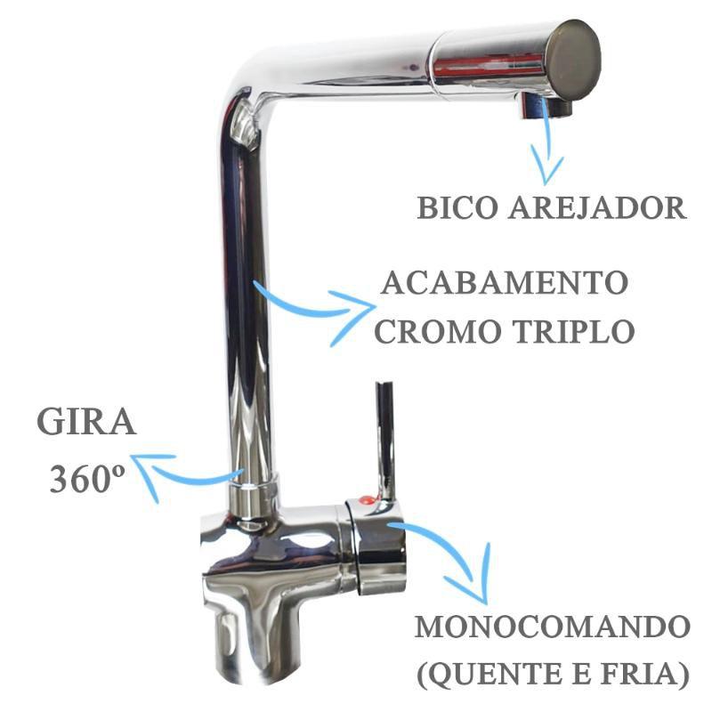 Misturador Monocomando Cromado Com Bico Movel  - DOTEC SHOP