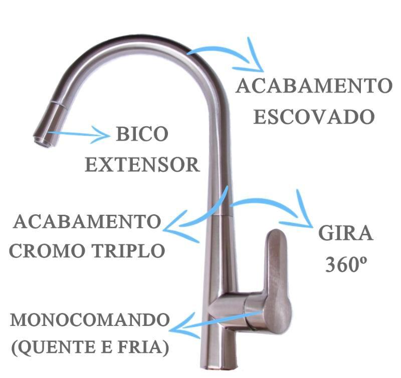 Misturador Monocomando Escovado Com Extensor  - DOTEC SHOP
