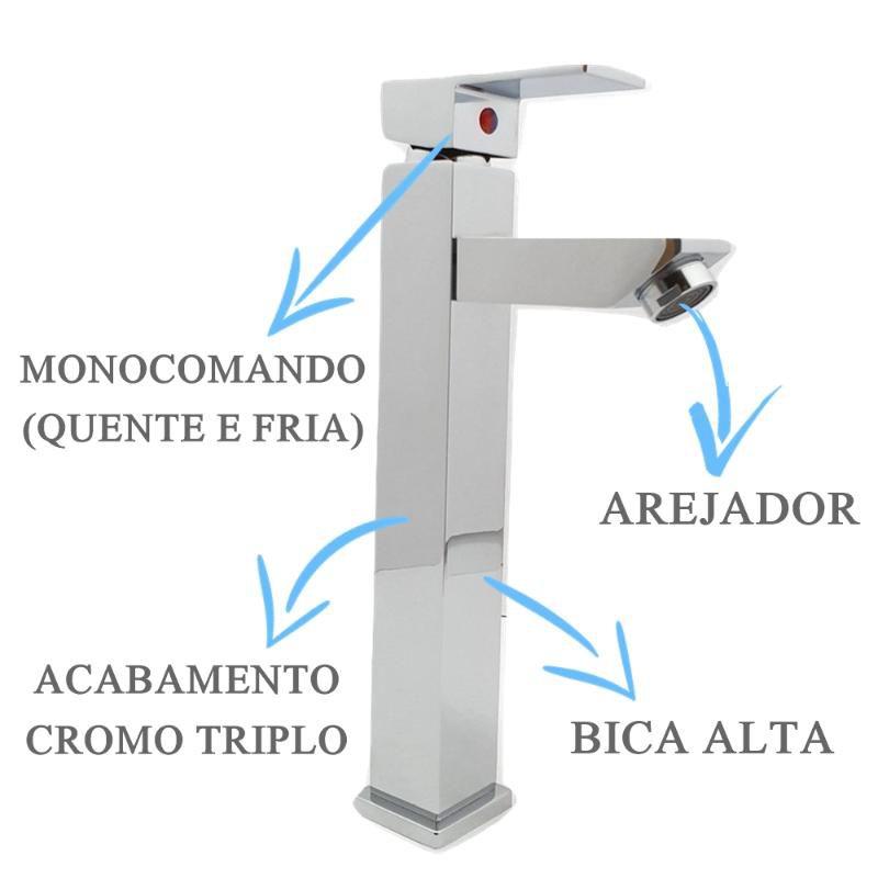 Misturador Quadrado Bica Alta  - DOTEC SHOP