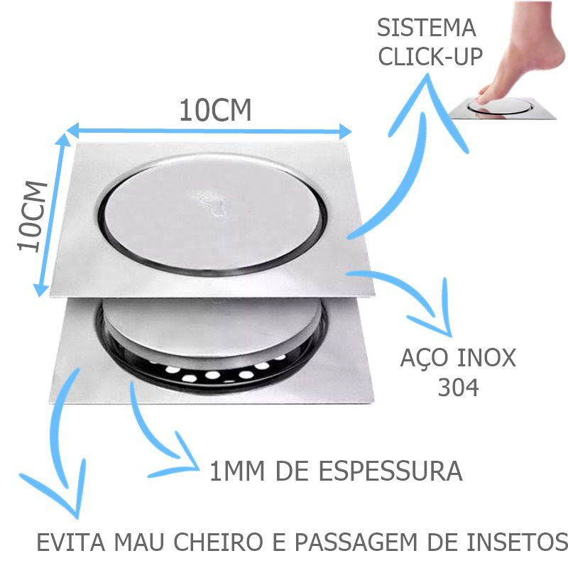Ralo Inteligente Click 10x10cm Quadrado  - DOTEC SHOP