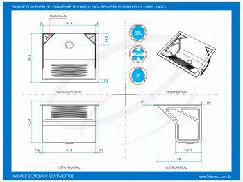 Tanque De Fixar Na Parede Inox 608x505x434 SUPER TS500 - GhelPlus