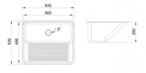 Tanque Grande Ghelplus 60x50x25 55 Litros Acetinado  - DOTEC SHOP