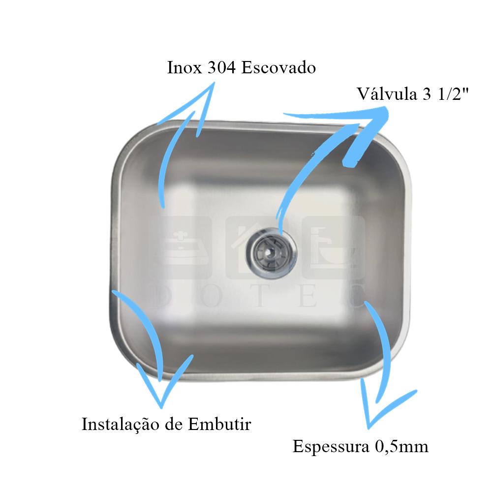 Tanque Inox 40x34x20cm Escovado Com Cuba Inox N3 40x34x17cm 304 Escovada  - DOTEC SHOP