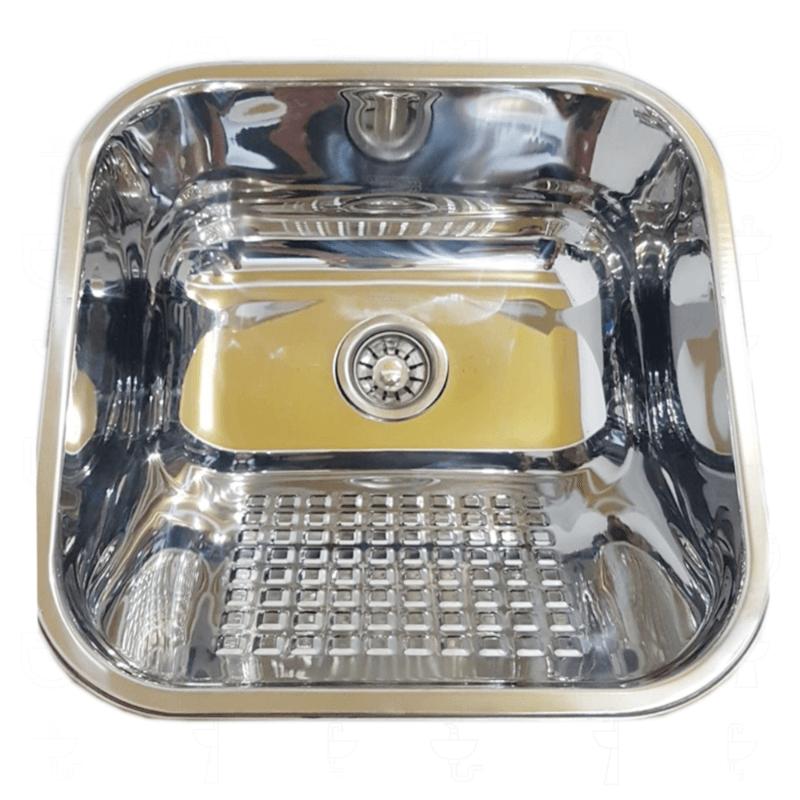 Tanque Inox 40x40x22cm - 22 Litros Esfregador Square  - DOTEC SHOP