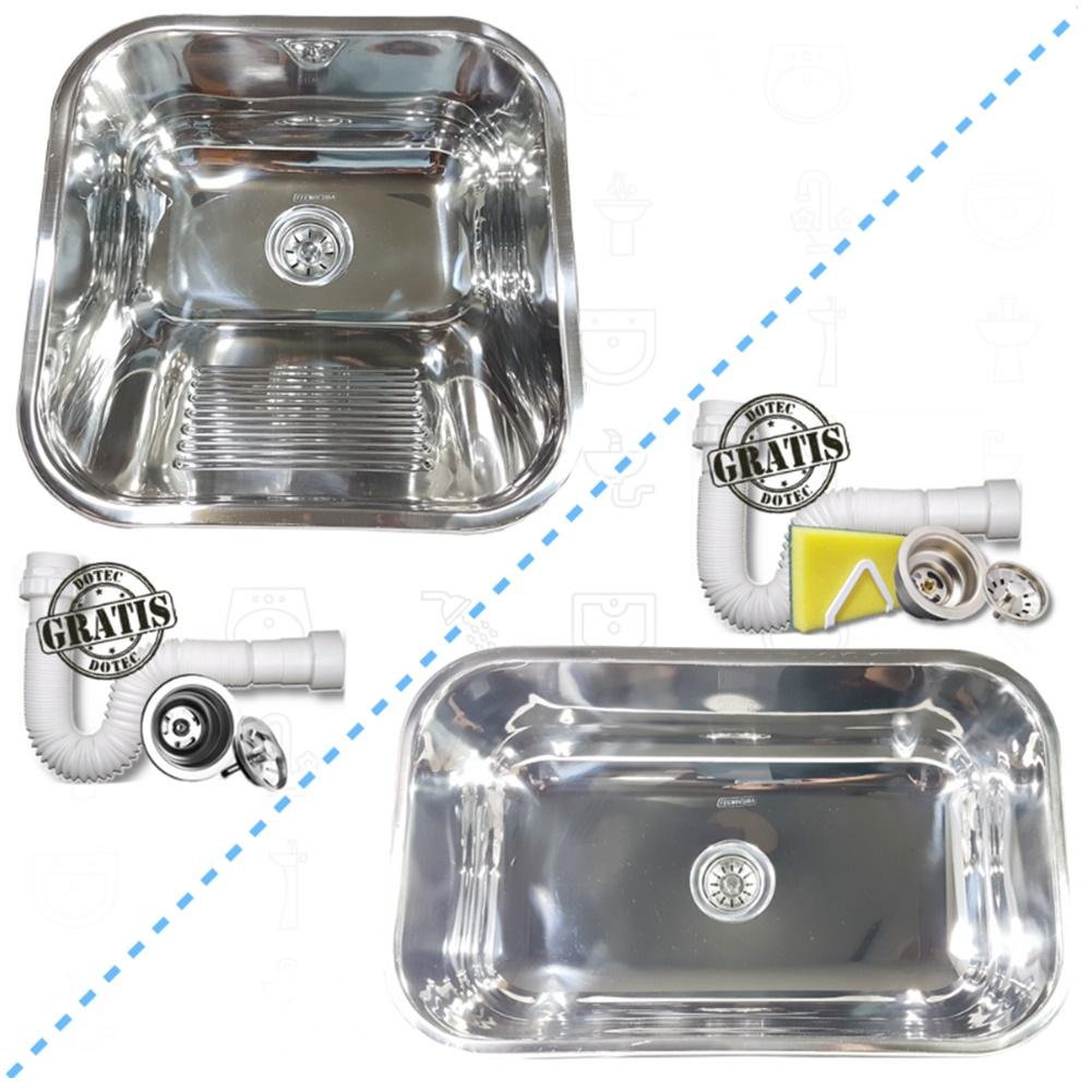 Tanque Inox 40x40x22cm Com Cuba Inox N2 56x34x17cm 430  - DOTEC SHOP