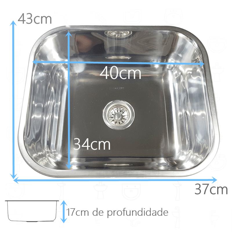 Tanque Inox 40x40x22cm Com Cuba Inox N3 40x34x17cm 304  - DOTEC SHOP