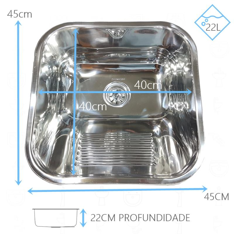 Tanque Inox 40x40x22cm Com Torneira Simples 1/4 de Parede
