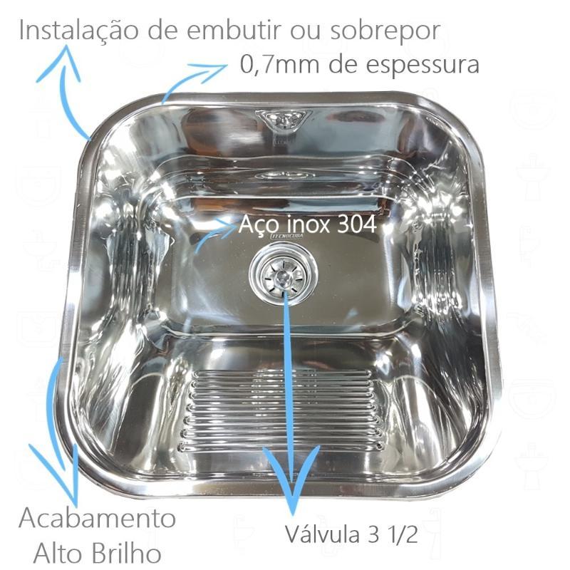 Tanque Inox 40x40x22cm Com Torneira Simples 1/4 de Parede Pescoço
