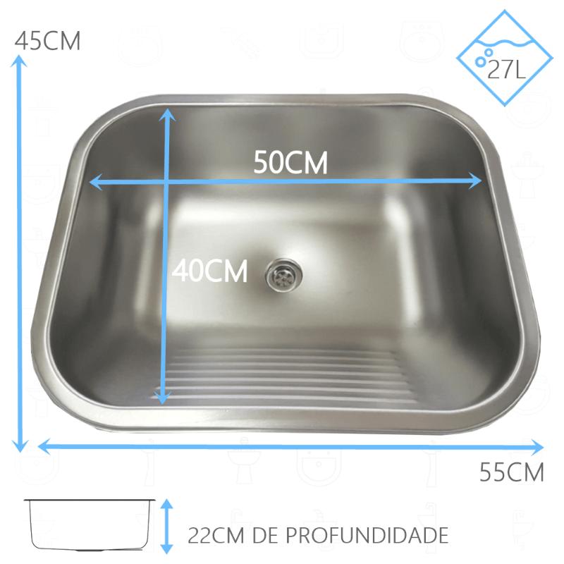Tanque Inox 50x40x22cm - 27 Litros Acetinado
