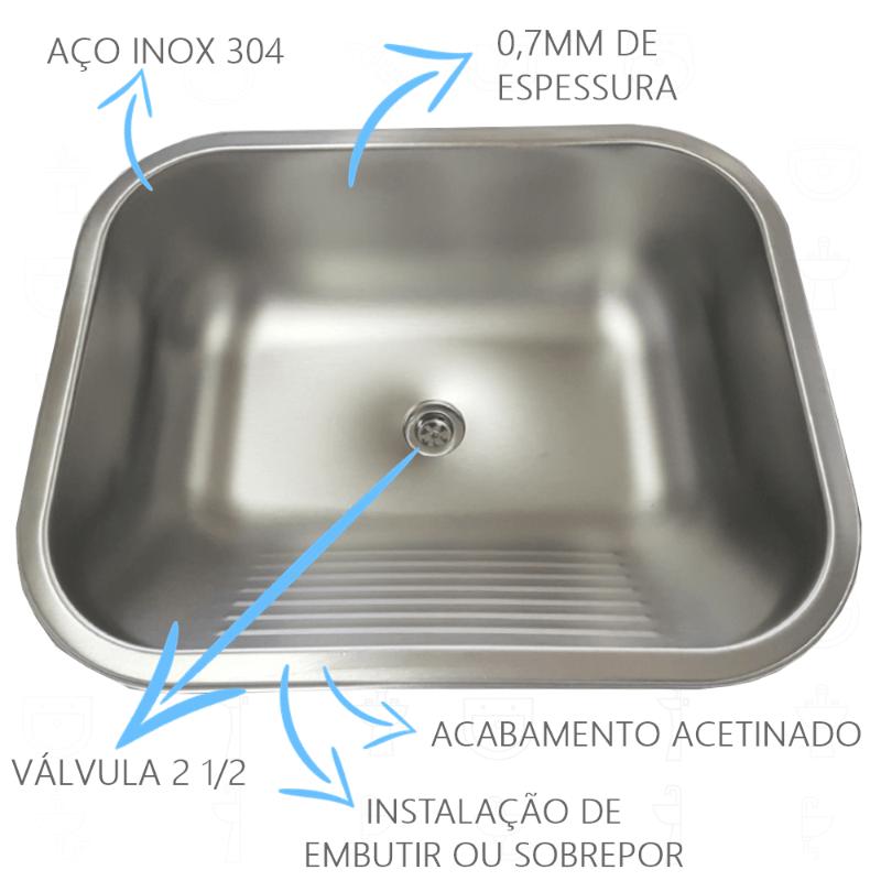 Tanque Inox 50x40x22cm - 27 Litros Acetinado  - DOTEC SHOP