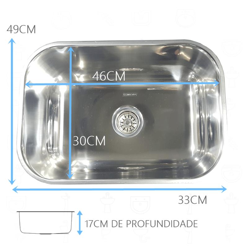 Tanque Inox 50x40x23cm Com Cuba Inox N1 46x30x17cm 304  - DOTEC SHOP