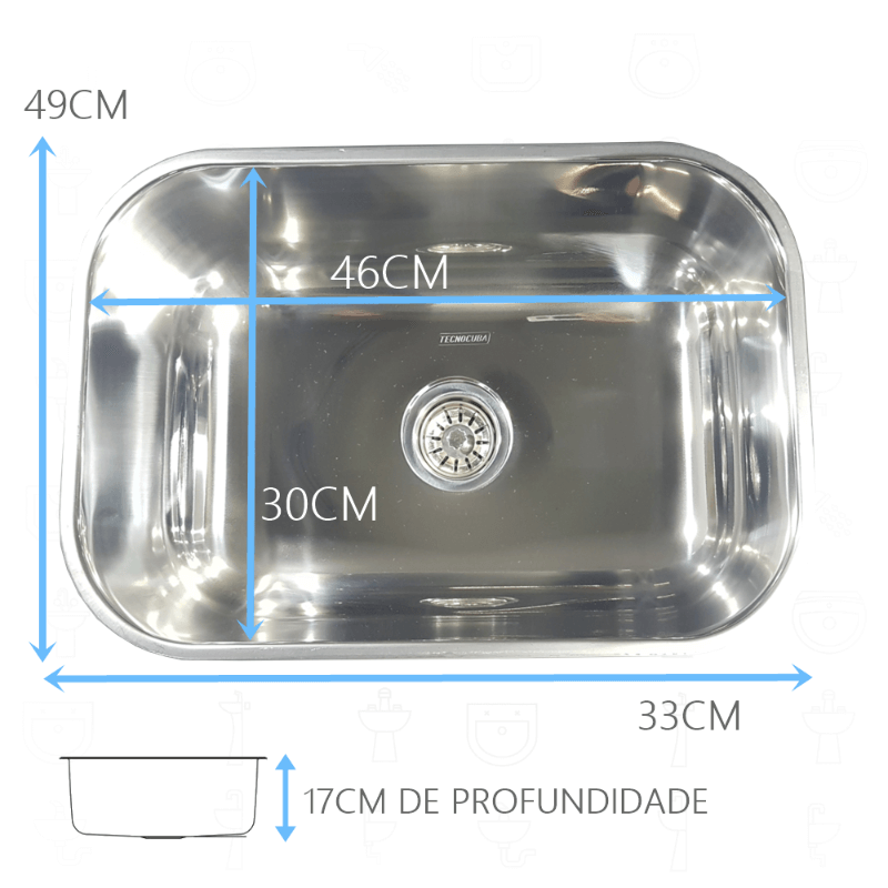 Tanque Inox 50x40x23cm Com Cuba Inox N1 46x30x17cm 430  - DOTEC SHOP