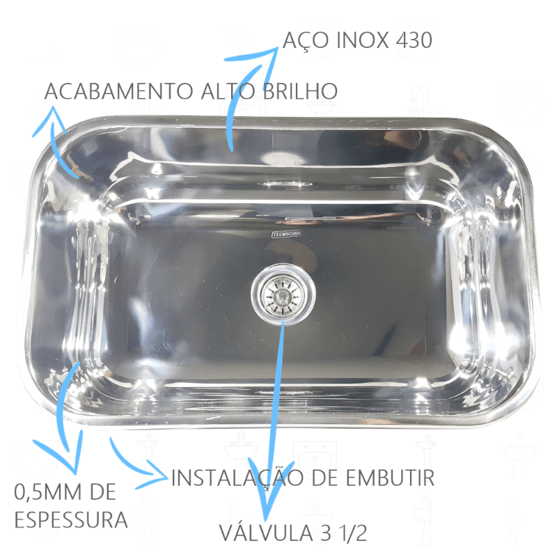 Tanque Inox 50x40x23cm Com Cuba Inox N2 56x34x17cm 430  - DOTEC SHOP