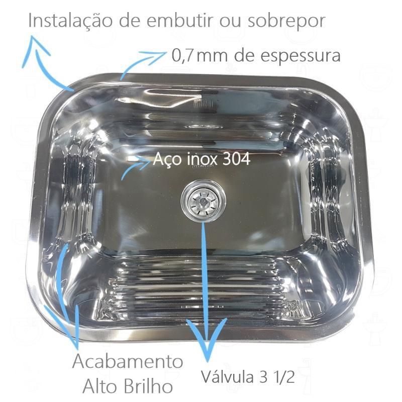 Tanque Inox 50x40x22cm Fixação em Parede - 27 Litros  - DOTEC SHOP