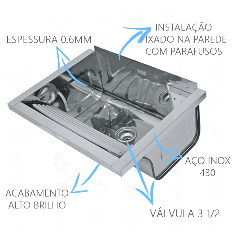 Tanque Inox Franke TS550 Fixacao