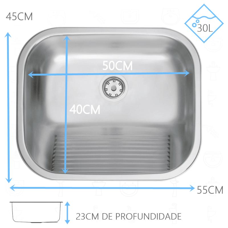Tanque Inox Tramontina Acetinado 50x40x23cm - 94400/107