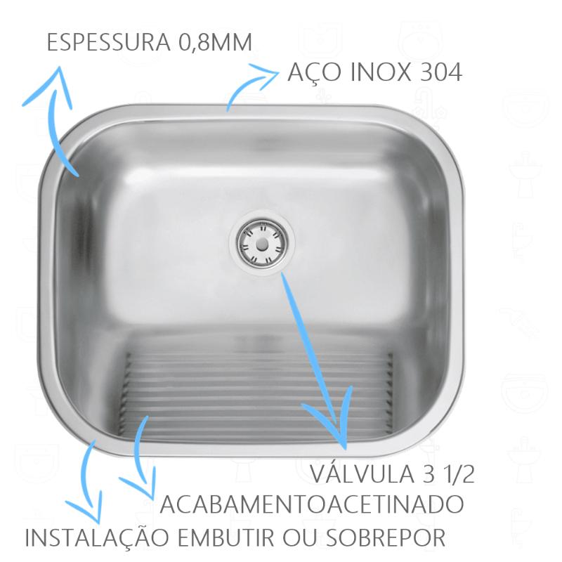 Tanque Inox Tramontina Acetinado 50x40x23cm - 94400/107  - DOTEC SHOP