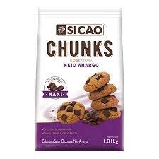 Cobertura sabor chocolate meio amargo Chunks Gotas 1,01KG Sicao
