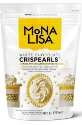 Crispearls cereais  chocolate branco Monalisa 800g  Callebaut
