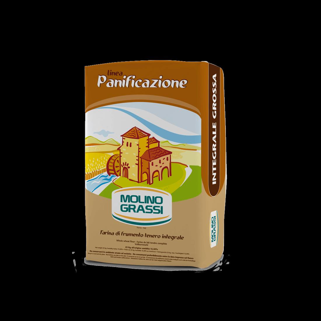 Farinha integral grossa - 25kg - Molino Grassi