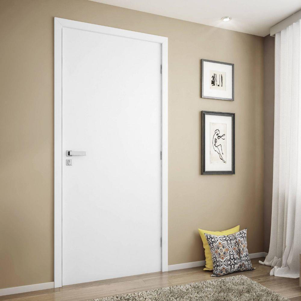 Kit porta branca lisa pintura pu - Connect Portas
