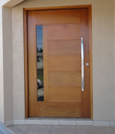 Kit porta externa  pivotante modelo BBB madeira maciça com visor reto.