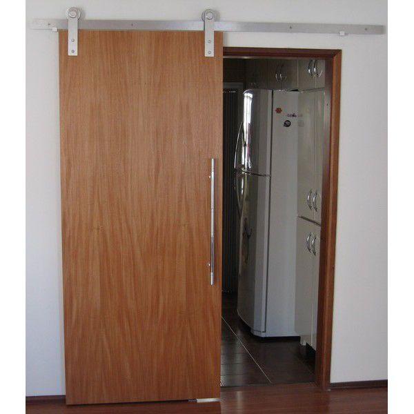 Porta de correr laminada lisa com trilho aparente - Connect Portas