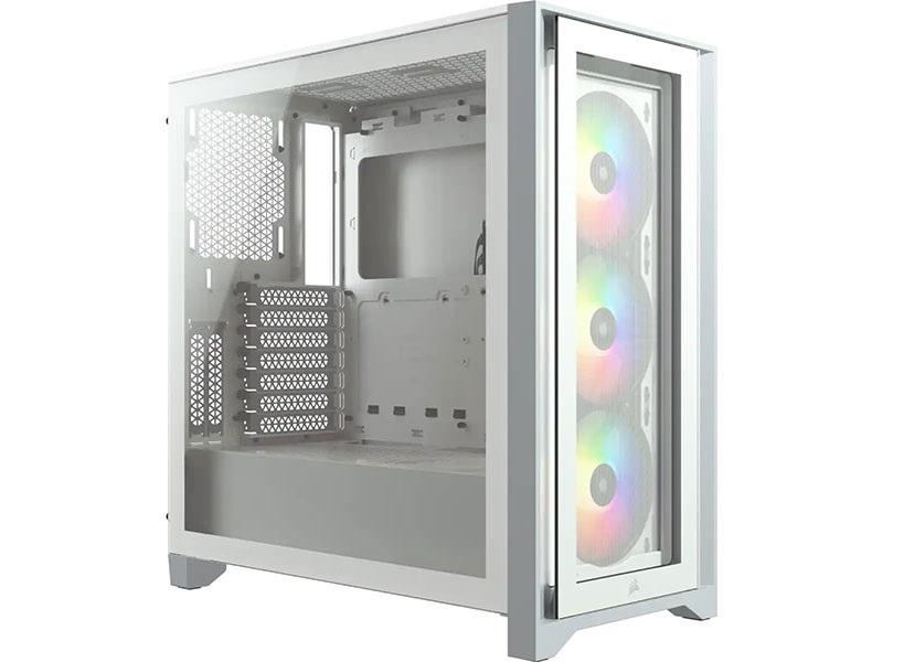 Gabinete Gamer Corsair Icue 4000X Rgb White laterial em Vidr