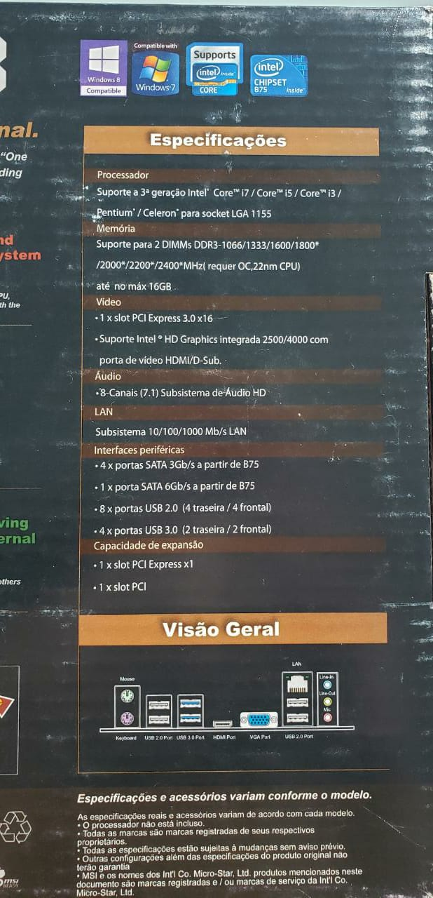 Placa Mãe Msi B75MA-E33 DDr3 Lga 1155