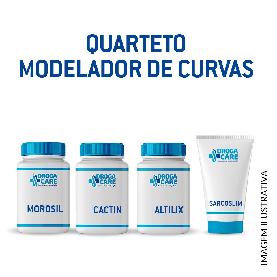 Quarteto modelador de curvas: Altilix 100mg 30 cáps + Morosil 500mg 30 cáps + Cactin 500mg 60 cáps + Sarcoslim