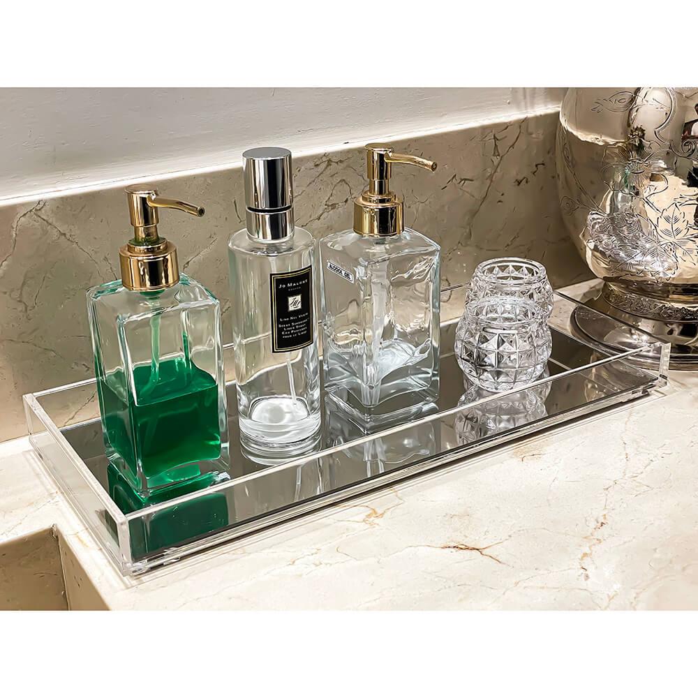 Bandeja Acrílico 40 x 17 x 3 cm Banheiro Lavabo com espelho