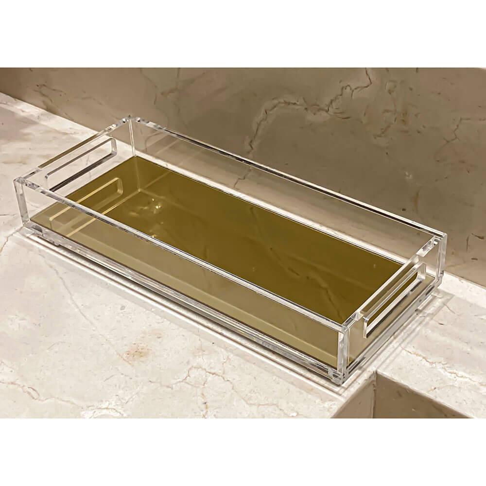 Bandeja Acrílico Lavabo 28,5 x 12 x 4 cm com Espelho Dourado