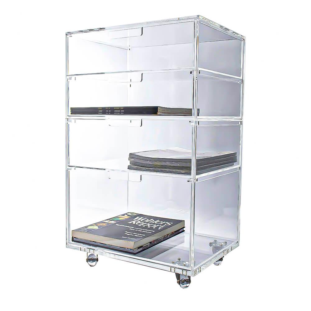 Carrinho Acrílico Organizador com 4 gavetas Modelo Office 01