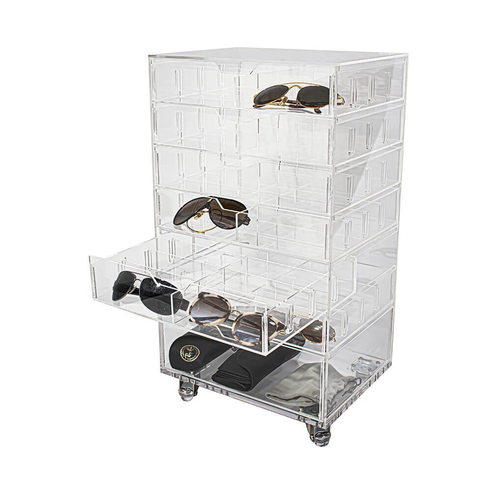 Carrinho Acrílico N8 Organizador para 48 Óculos com 7 gavetas