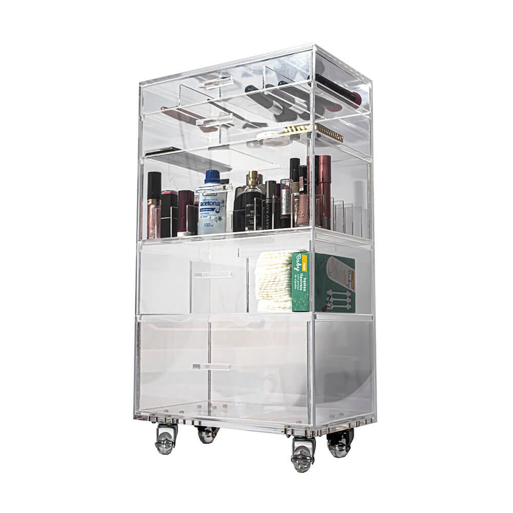 Carrinho Acrílico Organizador De Maquiagem Compacto N3