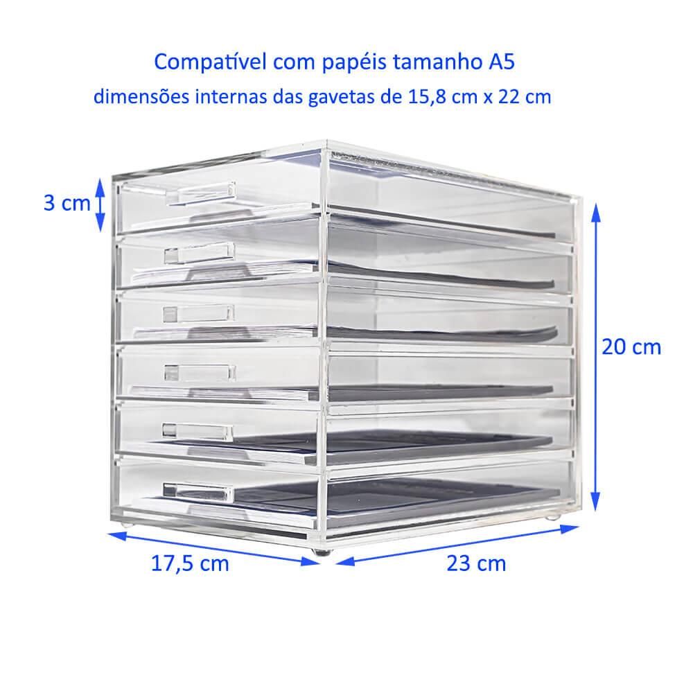 Gaveteiro Acrílico Organizador 6 gavetas para Papéis tamanho A5