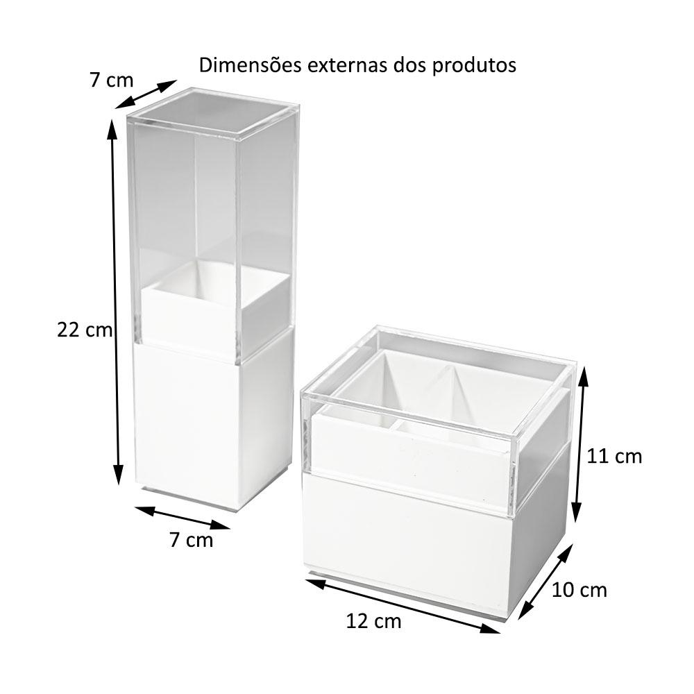 Kit Acrílico Porta Escova De Dente Algodão e Cotonetes BRANCO