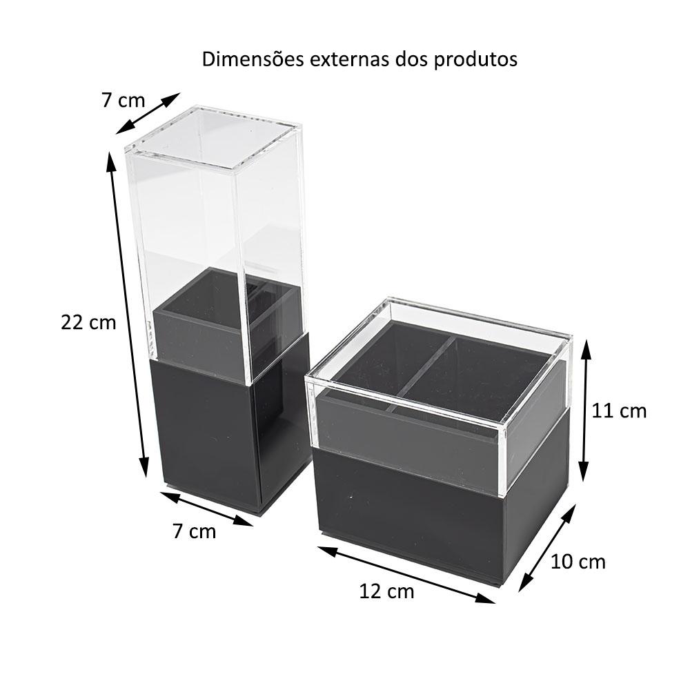 Kit Acrílico Porta Escova De Dente Algodão e Cotonetes CINZA