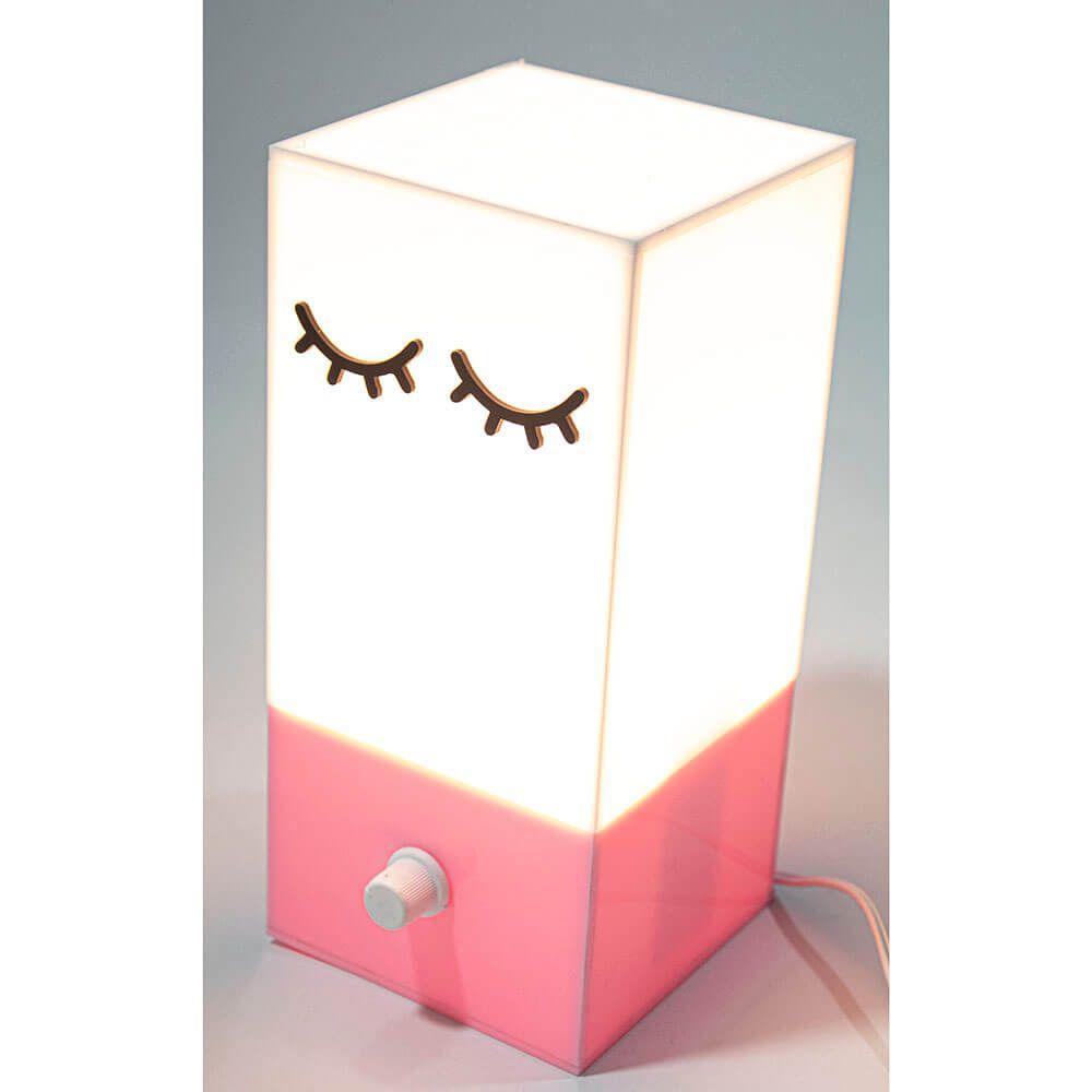 Luminária Infantil Stars em Acrílico Rosa 110V Dimerizável