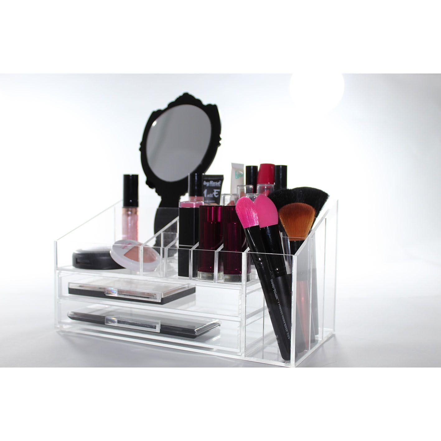 Organizador de Maquiagem Compacto + Espelho