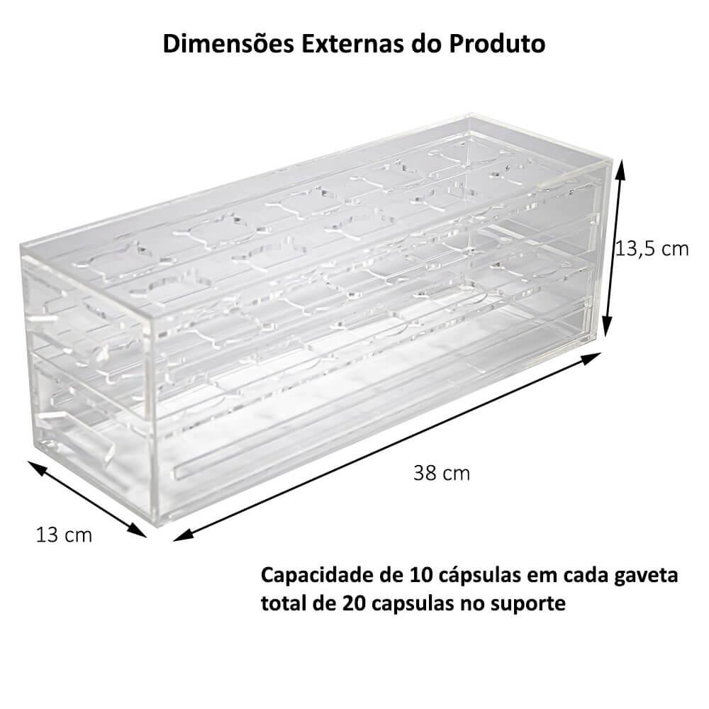 Porta Cápsula BBlend Acrílico 2 Gavetas para 20 cápsulas
