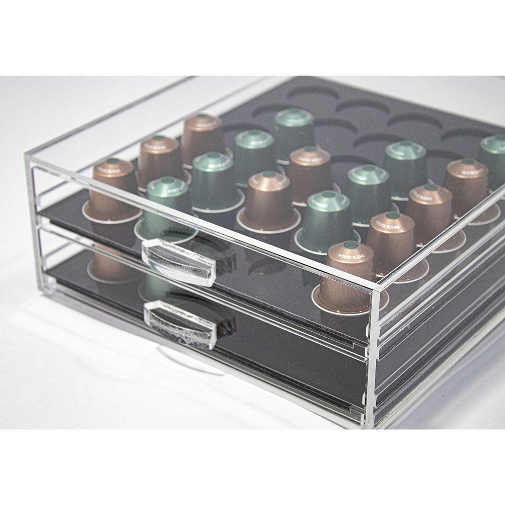 Porta Cápsulas Nespresso em acrílico Para 60 Unidades