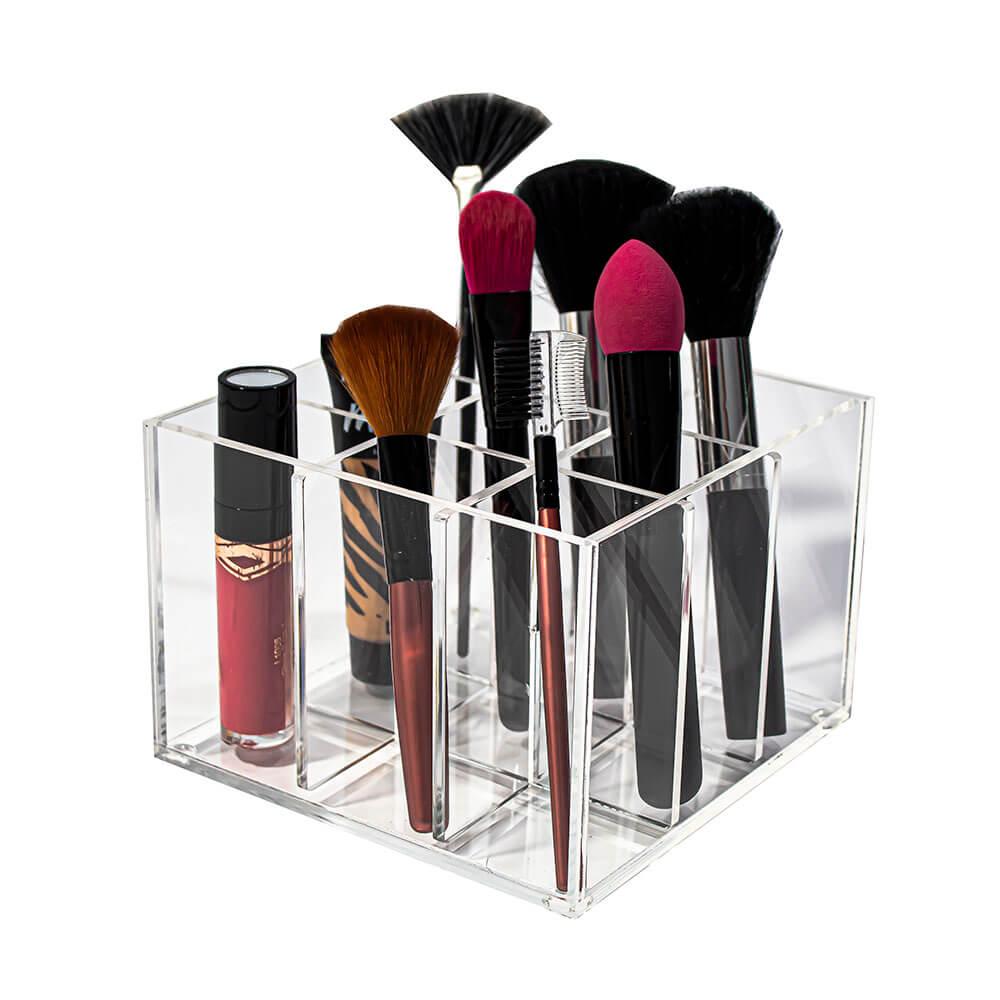 Pote Acrílico Porta Pincéis Maquiagem com 9 Nichos
