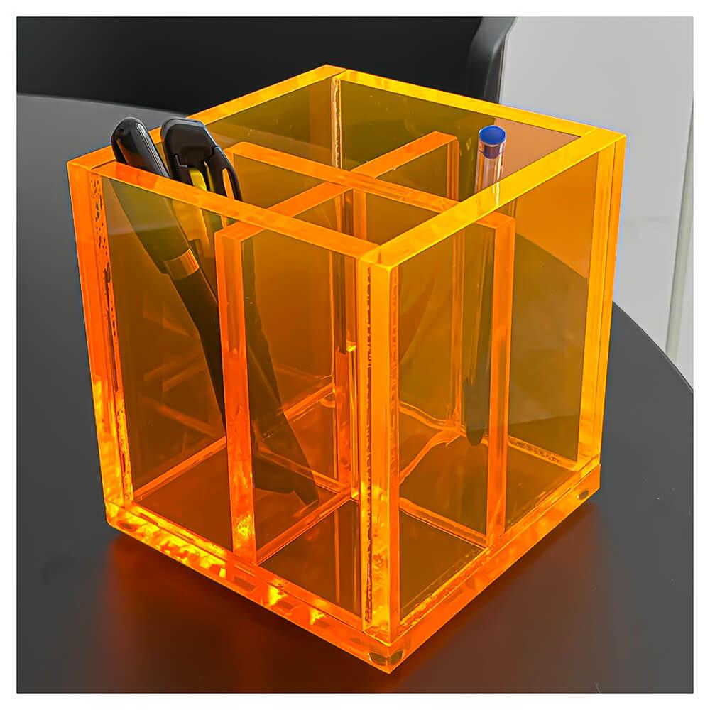 Pote Organizador de Pincéis Acrílico Laranja Neon 4 Nichos